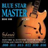 BSM008 Blue Star Master Light Комплект струн для электрогитары, нерж. сплав, 8-38, Fedosov