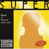 31 Super Flexible Комплект струн для виолончели размером 4/4, среднее натяжение, Thomastik