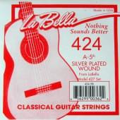 424 Отдельная струна №5 из нейлоновой нити в посеребренной оплетке, La Bella
