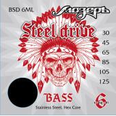BSD-6ML Steel Drive Комплект струн для 6-струнной бас-гитары, сталь, 30-125, Мозеръ