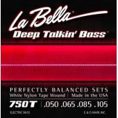750T Комплект струн для бас-гитары с белым нейлоном 050-105 La Bella