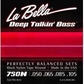 750N Комплект струн для бас-гитары с черным нейлоном 050-105 La Bella